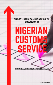 Nigeria Customs Shortlisted candidates names pdf